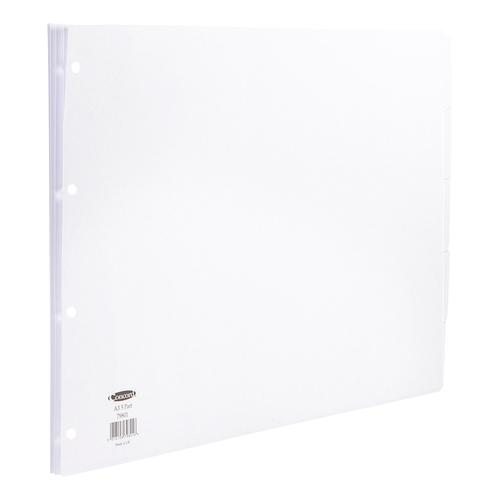 Concord Subject Dividers 5-Part Multipunched 150gsm Landscape A3 White Ref 79801