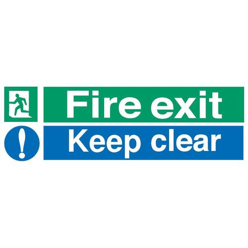Stewart Superior Fire Exit Sign Keep Clear W600xH200mm Self-adhesive Vinyl Ref SP055SAV