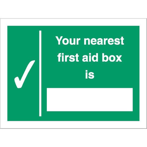 Stewart Superior Your Nearest First Aid Box Is Sign W200xH150mm Self Adhesive Vinyl Ref SP075SAV