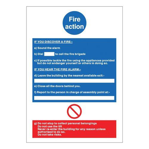 Stewart Superior Fire Action Sign W210xH297mm PVC Ref M011PVC