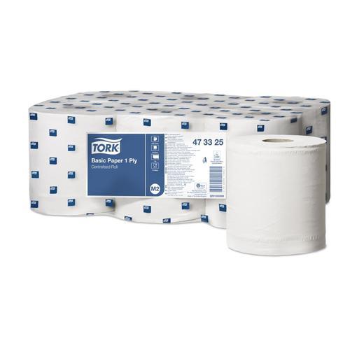 Tork FSC Universal Centrefeed Hand Towel Rolls Single Ply 194mmx300m Ref 473325 White [Pack 6]