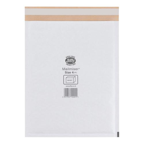Jiffy Mailmiser Protective Envelopes Bubble-lined Size 4 P&S 240x320mm White Ref JMM-WH-4 [Pack 50]