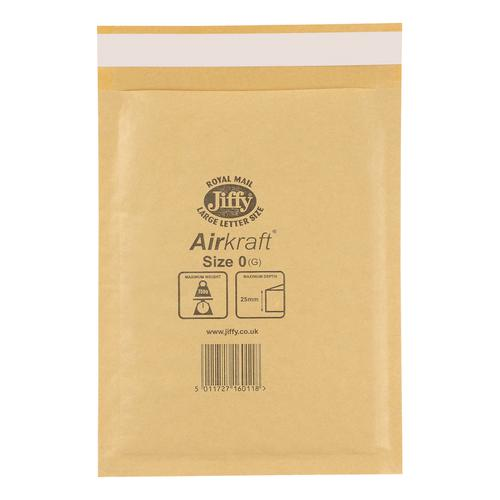 Jiffy Airkraft Bubble Bag Envelopes Size 0 Gold 140x195mm Gold Ref JLGO0 [Pack 100]