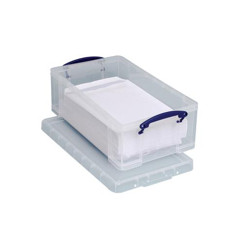 Really Useful Storage Box Plastic Lightweight Robust Stackable 12 Litre W270xD465xH155mm Clear Ref 12C