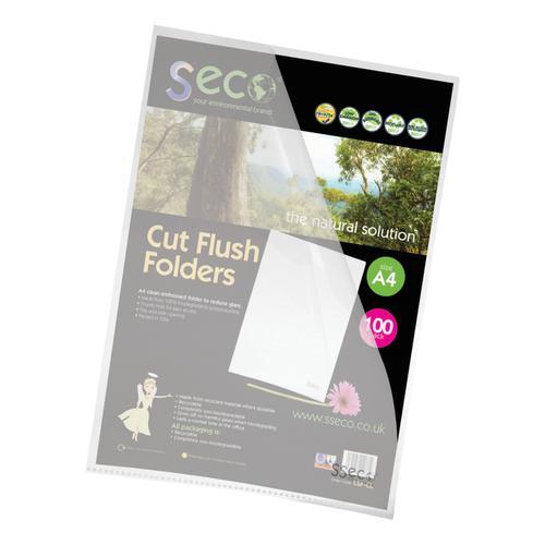 SSeco Folders Cut Flush Polypropylene Oxo-Biodegradable A4 Clear Ref LSF-CL [Pack 100]