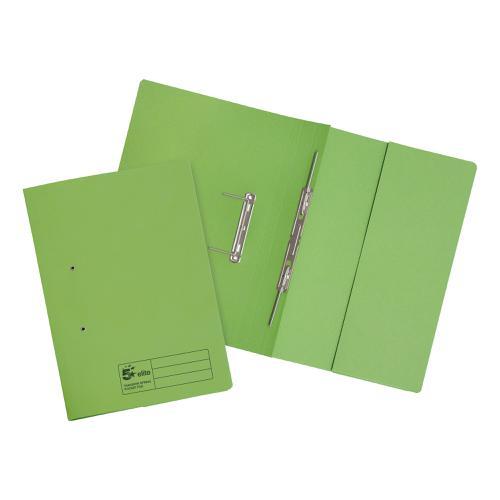 5 Star Elite Transfer Spring Pocket File Heavyweight 315gsm Foolscap Green [Pack 25]