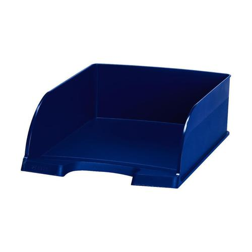Leitz Letter Tray Plus Jumbo Deep Sided with 2 Label Positions Blue Ref 52330035