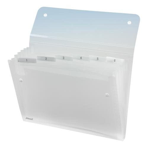 Rexel Ice Expanding File Durable Polypropylene 6 Pocket Stud Closure A4 Clear Ref 2102033