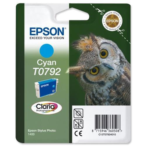 Epson T0792 Inkjet Cartridge Owl High Yield Page Life 1345pp 11ml Cyan Ref C13T07924010