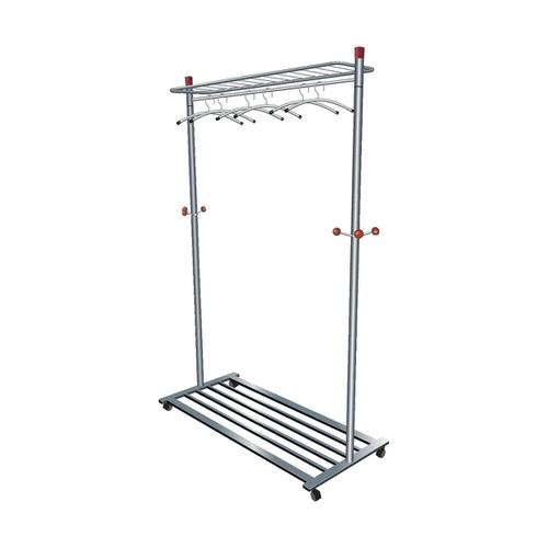 5 Star Facilities Coat Rack Mobile 4 Wheels 3 Pegs Capacity 40-50 Hangers 1140x550x1800mm Silver