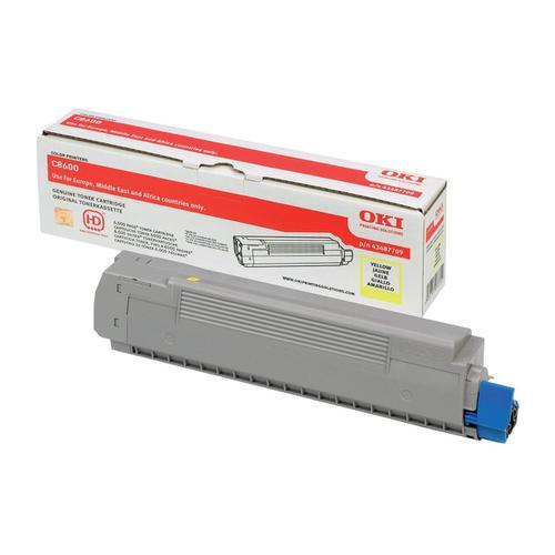 OKI Laser Toner Cartridge Page Life 6000pp Yellow Ref 43487709