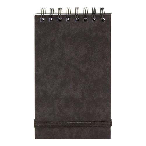 Note Pad Headbound Twin Wire 80gsm Ruled/Perforated/Elastic Strap 120pp 76x127mm Black [Pack 10]