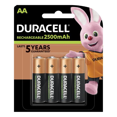 Duracell Stay Charged Battery Long-life Rechargeable 2500mAh AA Size 1.2V Ref 81418237 [Pack 4]