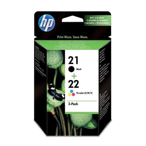Hewlett Packard [HP] No.21/No.22 Inkjet CartPage Life 416ppBlack/300ppTri-Colour 5ml Ref SD367AE [Pack 2]