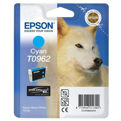 Epson T0962 Inkjet Cartridge Husky Page Life 1505pp 11.4ml Cyan Ref C13T09624010