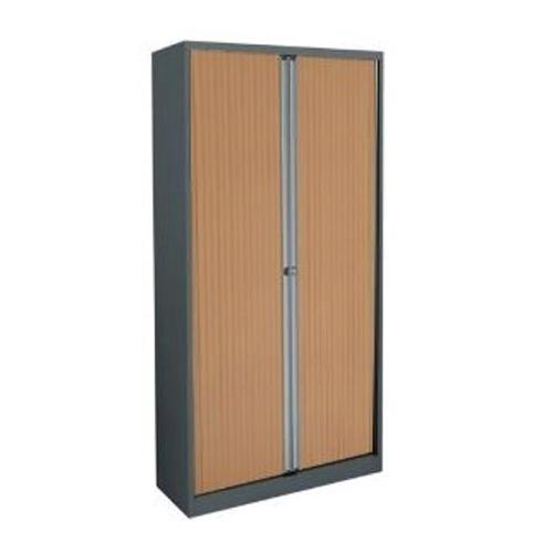 Trexus by Bisley Side Opening Tambour Cupboard inc 1Sh 1000x470x1000-1015mm Slv/Bch Ref WTB1010/1S.BC