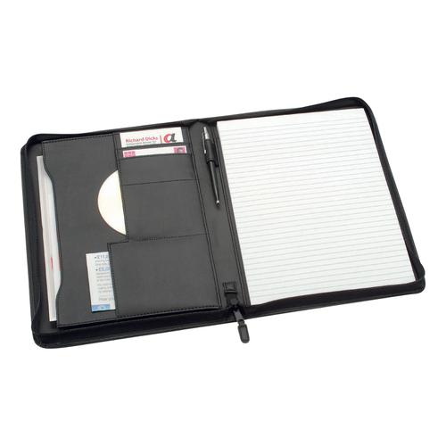 5 Star Office Zipped Conference Folder Capacity 20mm Leather Look A4 Black