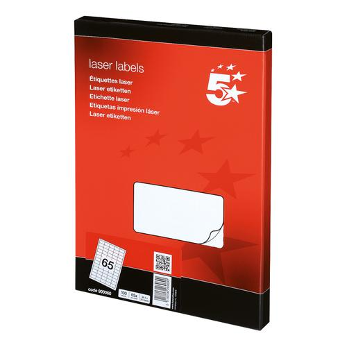 5 Star Office Multipurpose Labels Laser Copier Inkjet 65 per Sheet 38.1x21.2mm White [6500 Labels]