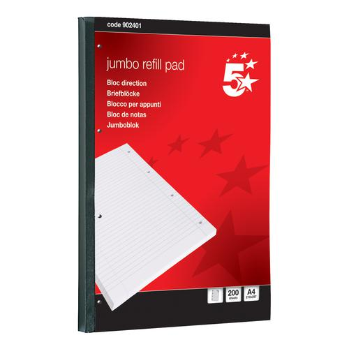 5 Star Office Jumbo Refill Pad Sidebound 60gsm Ruled Margin Punched 4 Holes 400pp A4 Red [Pack 4]