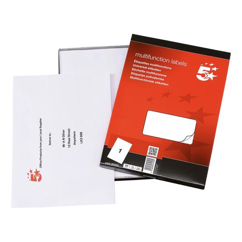 5 Star Office Multipurpose Labels Laser Copier and Inkjet 1 per Sheet 297x210mm White [100 Labels]