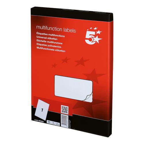 5 Star Office Multipurpose Labels Laser Copier and Inkjet 1 per Sheet 297x210mm White [100 Labels]