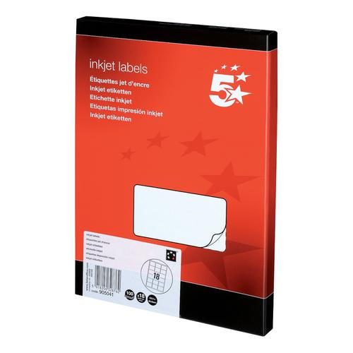 5 Star Office Addressing Labels Inkjet 18 per Sheet 63.5x46.6mm White [1800 Labels]