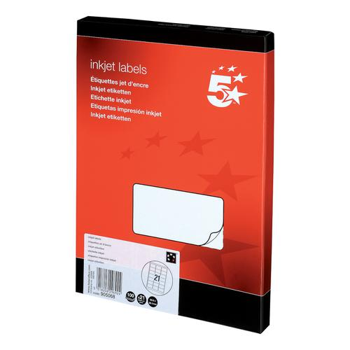 5 Star Office Addressing Labels Inkjet 21 per Sheet 63.5x38.1mm White [2100 Labels]