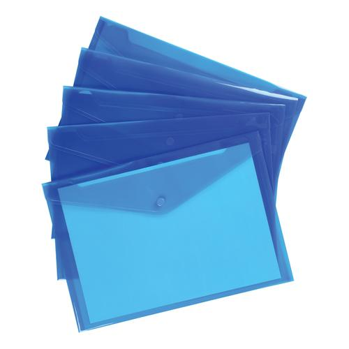 5 Star Office Envelope Stud Wallet Polypropylene A4 Translucent Blue [Pack 5]
