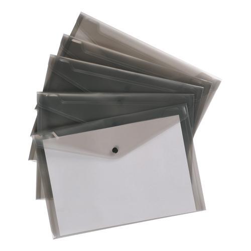5 Star Office Envelope Stud Wallet Polypropylene A4 Translucent Smoke [Pack 5]