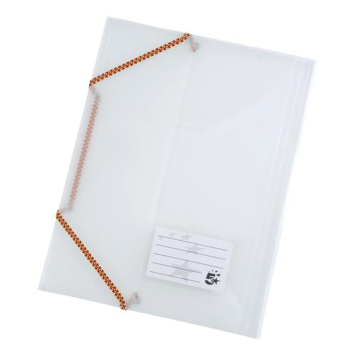 5 Star Office 3 Flap Elasticated File Polypropylene A4 Translucent [Pack 5]