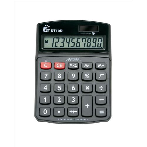 5 Star Office Desktop Calculator 10 Digit Display 3 Key Memory Battery/Solar Power 94x32x124mm Black
