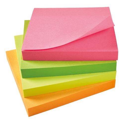 5 Star Office Re-Move Notes Repositionable Neon Pad of 100 Sheets 76x76mm Assorted [Pack 12]