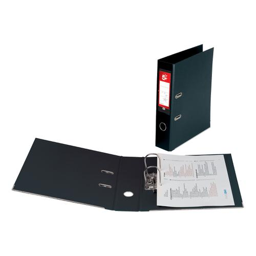 5 Star Office Lever Arch File Polypropylene Capacity 70mm Foolscap Black [Pack 10]