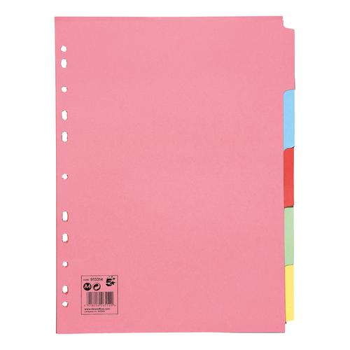 5 Star Office Subject Dividers 5-Part Recycled Card Multipunched 155gsm A4 Assorted [Pack 50]