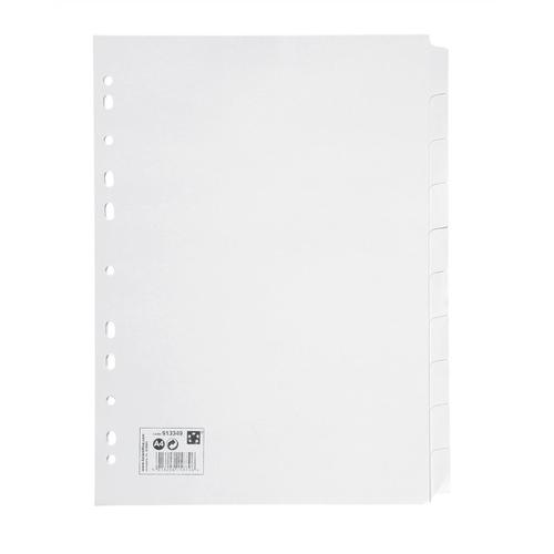 5 Star Office Subject Dividers 10-Part Recycled Card Multipunched 155gsm A4 White