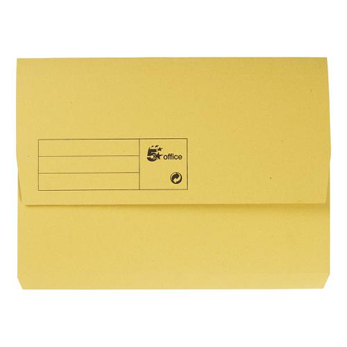 5 Star Office Document Wallet Half Flap 285gsm Recycled Capacity 32mm A4 Yellow [Pack 50]