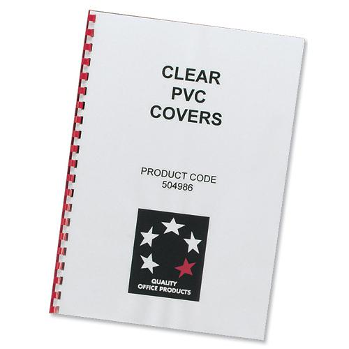 5 Star Office Comb Binding Covers PVC 200 micron A4 Clear [Pack 100]
