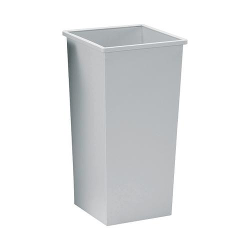 5 Star Facilities Waste Bin Square Metal Scratch Resistant 48 Litres 325x325x642mm Grey
