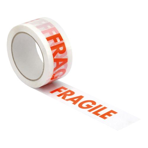 5 Star Office Printed Tape Fragile Polypropylene 48mmx66m Red Text on White [Pack 6]