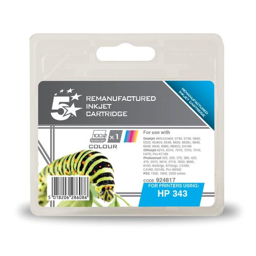 5 Star Office Remanufactured Inkjet Cart Page Life 260pp 7ml Tri-Colour [HP No.343 C8766EE Alternative]