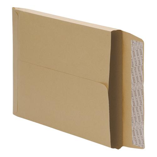 5 Star Office Envelopes 353x250mm Gusset 25mm Peel and Seal 115gsm Manilla [Pack 125]