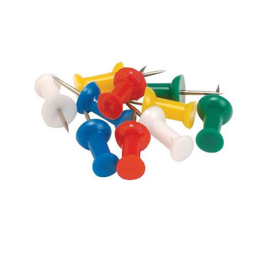 5 Star Office Push Pins 7mm Head Assorted Opaque [Pack 20]