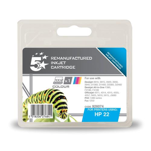 5 Star Office Reman Inkjet Cartridge Page Life 165pp 5ml Tri-Colour [HP No.22 C9352A Alternative]