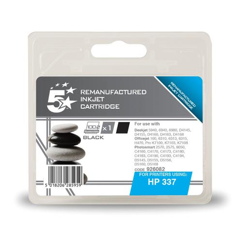 5 Star Office Remanufactured Inkjet Cartridge Page Life 420pp 11ml Black [HP No.337 C9364EE Alternative]