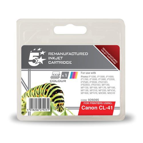 5 Star Office Remanufactured Inkjet Cartridge Page Life 312pp 12ml Tri-Colour [Canon CL-41 Alternative]