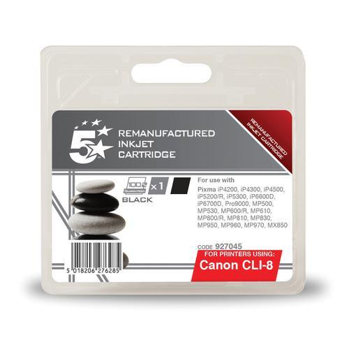 5 Star Office Remanufactured Inkjet Cartridge Page Life 1145pp 13ml Black [Canon CLI-8BK Alternative]