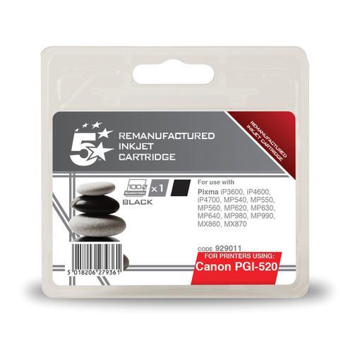 5 Star Office Remanufactured Inkjet Cartridge Page Life 350pp Black 19ml [Canon PGI-520BK Alternative]
