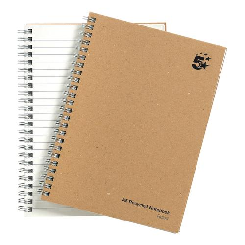 5 Star Eco Notebook Wirebound 80gsm Ruled Recycled 160pp A5 Buff [Pack 5]