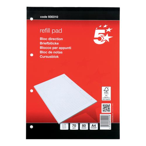 5 Star Office FSC Refill Pad Headbound 70gsm Ruled Margin Punched 4 Holes 160pp A4 Red [Pack 10]