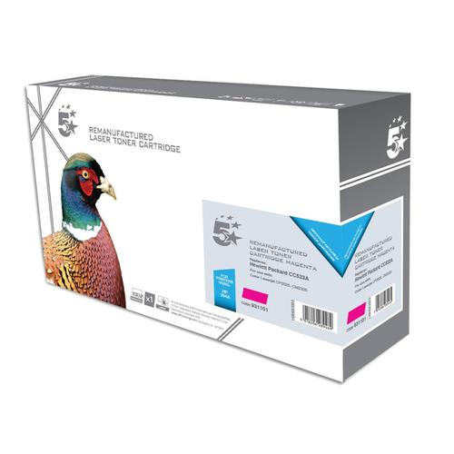 5 Star Office Remanufactured Laser Toner Cartridge 2800pp Magenta [HP 304A CC533A Alternative]